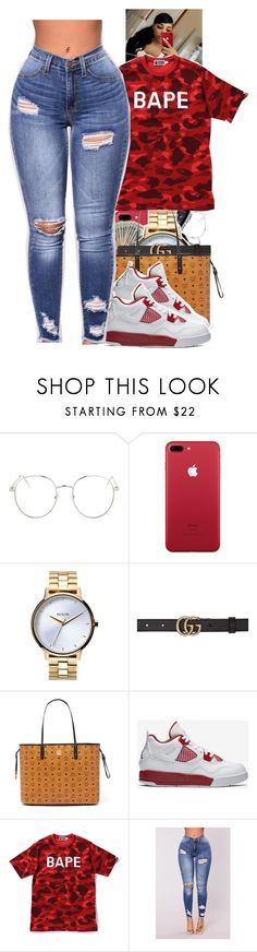 """""""Untitled #2176"""" by txoni ❤ liked on Polyvore featuring Topshop, Nixon, Gucci, MCM, NIKE and A BATHING APE"""