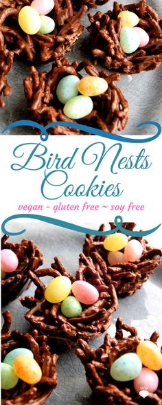 These Vegan, Gluten Free Bird Nest Cookies are a fun Easter treat and can be made free of dairy, nuts, and gluten. thehiddenveggies.com