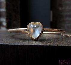 Victorian moonstone heart bangle bracelet, from Doyle & Doyle.