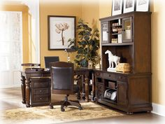 The Porter home office furniture set comes with a large desk, corner table, credenza, and a large hutch. L Shaped Office Desk, Office Desk Set, Home Office Space, Home Office Desks, Home Office Furniture, Furniture Sets, Furniture Stores, Furniture Collection, Innovation Design