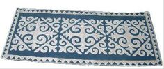 Felt rug, blue-grey, size: 0.8m x 1.75m http://www.shyrdak-felt-rugs.com/