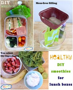 DIY smoothies for lunch to go?! This looks really cool. -- Great school lunch packing tips at MOMables.com!