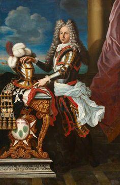 """Anónimo de la ESCUELA FRANCESA, """"El Caballero Joseph de Lemerie des Choisy, Gran Hospitalario de la Orden de San Juan de Jerusalén y Gran Prior de Aquitania""""; óleo sobre tela, 1729."""