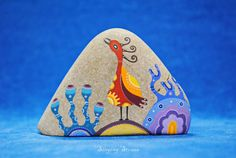 Hand painted stone -The guardian of home