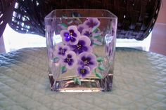 Hand Painted Violets Glass Candle Holder by cape2830 on Etsy, $18.00