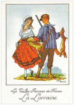 Art Deco Illustration, Illustrations, Lorraine, Costume Français, European Costumes, French Costume, German Folk, Spanish Fashion, Alsace