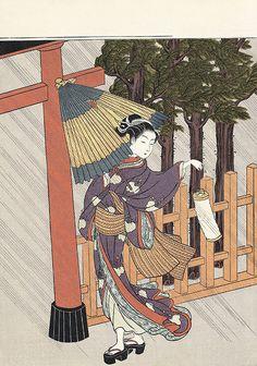Harunobu Suzuki 鈴木春信/雨中夜詣