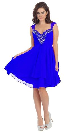 Short Prom Cap Sleeve Plus Size Chiffon Formal Cocktail Homecoming Dress - The Dress Outlet - 12
