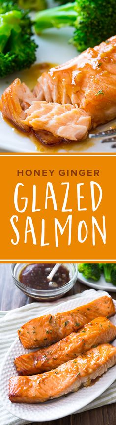 This simple baked salmon is smothered with a 4 ingredient garlic honey ginger glaze and is ready in under 35 minutes! Recipe on sallysbakingaddiction.com