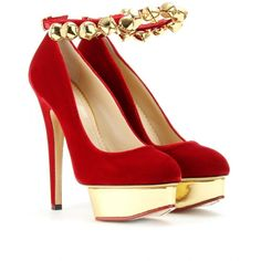 JINGLE BELL DOLLY PLATFORM PUMPS in red velvet with a glossy gold-toned platform
