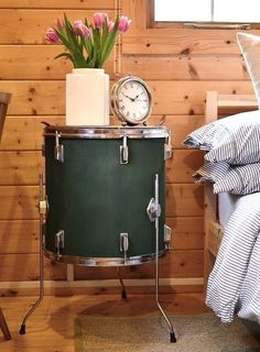 Snare drum repurposed as a side table