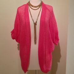 "H&M HOT PINK CARDIGAN! Selling this sexy and fun, hot pink H&M cardigan. It's super light, yet keeps you just warm enough for those breezy Cali days (or wherever you are! ☺️⛵️). Super cute dresses with white tank top and boyfriend jeans! 30""L x 12""L arms x ~13""W. H&M Tops"