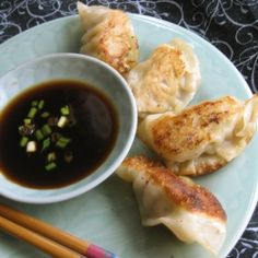 Chinese pork potstickers.