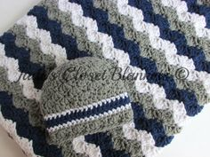 Baby Gift Set, Crochet Grey, Gray, Navy Blue, and White Hat and Crib Blanket Set, Baby Boy, New Baby Gift Set by JadesClosetBlankets on Etsy https://www.etsy.com/listing/197500784/baby-gift-set-crochet-grey-gray-navy