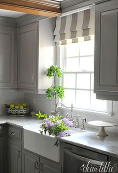 trendy kitchen window over sink roman shades curtains - Image 12 of 21 Kitchen Window Bar, Kitchen Window Blinds, Window Over Sink, Kitchen Window Coverings, Home Decor Kitchen, New Kitchen, Kitchen Cabinets, Kitchen Ideas, Curtains In Kitchen