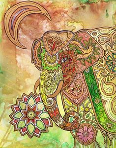 Painted Elephant by Lynnette Shelley features a stylized elephant inspired by the painted elephants of India as well as Indian henna patterns.