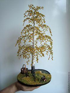 """Купить Дерево из бисера береза """"Хороший день"""" - Дерево из бисера, береза, грибы, лесная тема"""