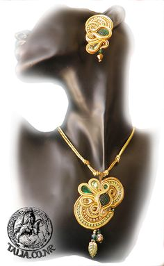 Soutache pendant with earrings in Yellow