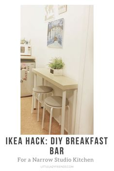 Create a small dining area in your studio with this simple DIY! With these easy steps and materials, you can make your own breakfast bar.