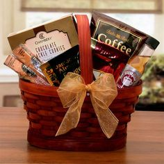Make caffeine dreams come true with this coffee themed gift featuring Premium coffee, a creamy coffee syrup and rich coffee candy, plus chocolate covered biscotti. The Mini Coffee Break Gift Basket in