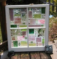 This Garden Glass Window is called 'Geo Pink/Green'.