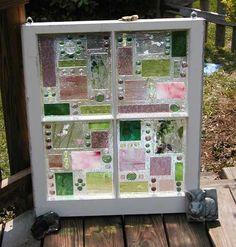 This Garden Glass Window is called 'Geo Pink/Green'.