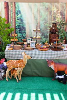 Woodland creatures at a camping party! See more party ideas at CatchMyParty.com!