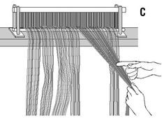 Beam the warp with a lot of tension, more than it will be under while you're weaving. This extra tension prevents the threads from biting down unevenly as the layers build up on the warp beam… Types Of Weaving, Weaving Tools, Tablet Weaving, Weaving Projects, Weaving Art, Tapestry Weaving, Loom Weaving, Hand Weaving, Weaving Designs