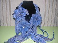 Felt flower,Felt necklace belt,Gift for her, Felting flower necklace,collar flowers, Felted beads,blue necklace, Wool Jewellery