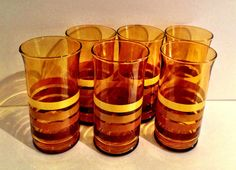 Cool 1970s Amber Glass w Stripes