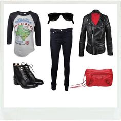 Rock your life like Charlotte Ronson with this black, white and red look ! Compliment to her Foreigner Vintage top.  http://www.walkinmycloset.com/closet/charlotte.ronson