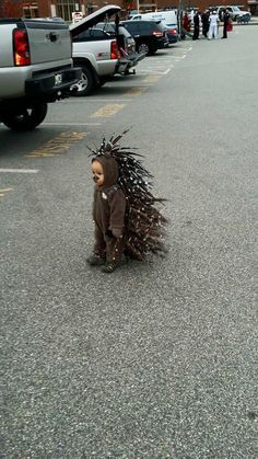 This kid as a porcupine.   27 Kids Who Totally Nailed This Halloween Thing Oh my goodness, when i have a kid, MY CHILD WILL WEAR THIS!!!!!
