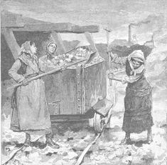 BAL MAIDENS SPALLING AND LOADING ORE WAGON (1880) | Carn Brea, Cornwall: Harpers Magazine (1881)     ✫ღ⊰n