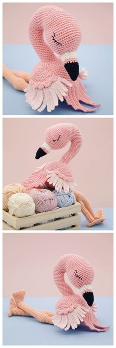 DIY Crochet Amigurumi Flamingo PatternThis pretty crochet flamingo uses the following stitches: chain, magic ring, single crochet, increase, (invisible) decrease, back loops only, bobble stitch, double crochet, front loops only, slip stitch How tall...