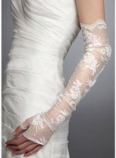 Shop Lace Fingerless Opera Length Wedding Gloves online - Discount available!