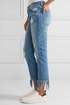 3x1 - Wm3 Crop Fringe Distressed Mid-rise Straight-leg Jeans - Mid denim - 31