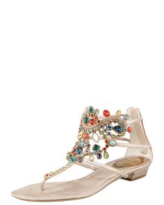 Multi-Stone Flat Thong Sandal by Rene Caovilla at Bergdorf Goodman.