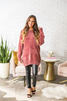 Champagne and Cuddles Chenille Sweater in Rustic Rose- $49