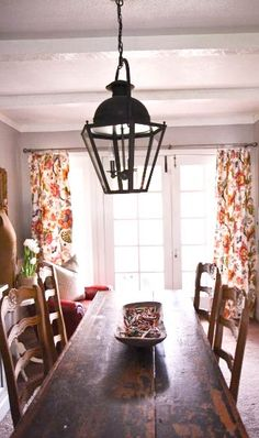 kitchen table...drapes for doors