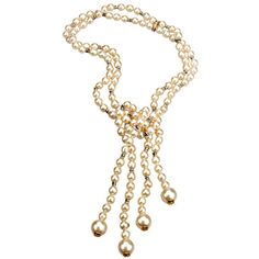 CHANEL Double Strand Pearl & Rhinestone Lariat  Necklace | From a unique collection of vintage multi-strand necklaces at https://www.1stdibs.com/jewelry/necklaces/multi-strand-necklaces/