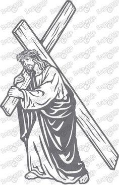 Imagen vectorial para corte en plotter de la séptima estación del Via Crucis: Jesús carga la cruz