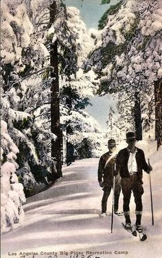 Early park rangers prepare Big Pines Park for visitors. Depending on the season, their mode of travel ranged from horses and mules, to snowshoes and dogsleds and cross country skis...