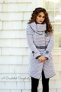 Crochet Pattern for purchase. Women's Houndstooth Jacket by A Crocheted Simplicity