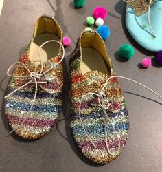 Sweet glitter rainbow coloured shoes for girls by Anniel at Pitti Bimbo81 for spring 2016
