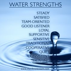 Elements Water: #Water ~ The Four Elements of Success™ Character Strengths and Challenges: Water Strengths.
