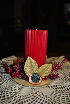 Cinnamon Red Candle In Plate Candle by GinasCornerCrafts on Etsy, $18.00