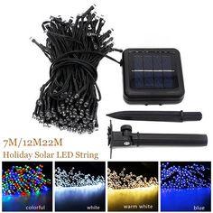 7 M/12 M/22 M Lámpara Solar Luces de Hadas de Cuerda de Iluminación de Energía Solar Al Aire Libre 8 Modos A Prueba de agua para la Luz Del Jardín Cadena de Luz LED