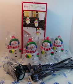 Holiday Time 4 Piece Light Up Snowman Christmas Yard Stakes New | eBay