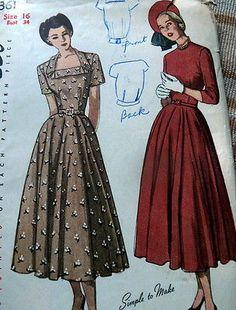 Lovely Vtg 1940s Dress Sewing Pattern 16 34 | eBay