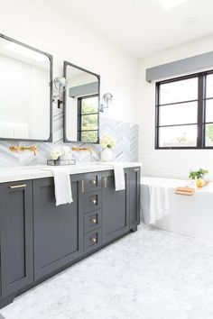 Unbelievable Useful Ideas: Backsplash Kitchen Design copper backsplash decor.Arabesque Backsplash With Granite. Charcoal Bathroom, Dark Gray Bathroom, Grey Bathroom Vanity, Gray Vanity, Bathroom Faucets, Small Bathroom, Master Bathroom, Washroom, Gray Bathrooms